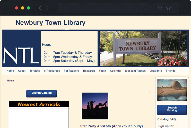 Newbury Library website before and after
